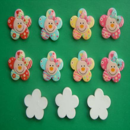 Фото Серединки ,кабашоны, Кабашоны детские мультики Кабашон  цветочек  с  улыбкой  и  бантиком