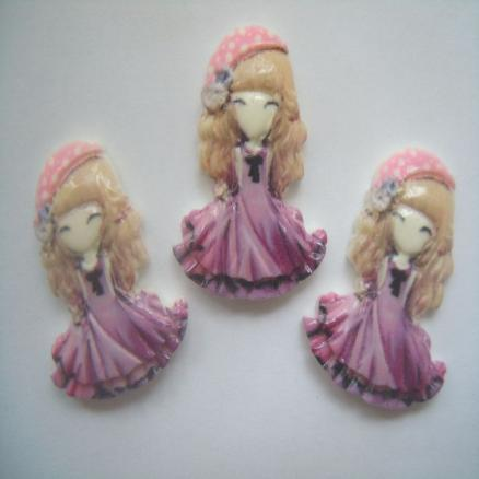 Кабашон куколка- принцесса ,21х28мм, сиреневая