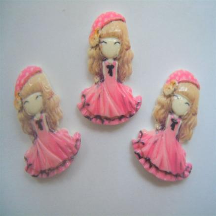 Кабашон куколка - принцесса ,21х28мм ,розовая