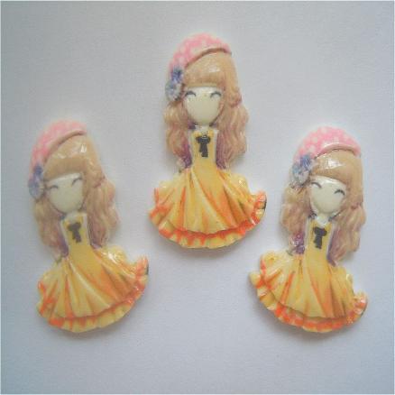 Кабашон куколка принцесса 21х28 мм ,цвет жёлтый
