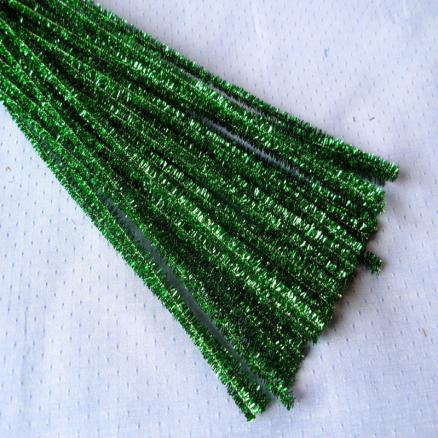 Синельная проволока 30 см зеленая блеск
