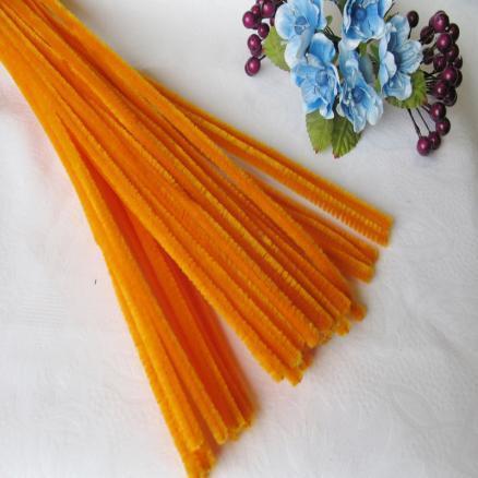 Фото Проволока синельная ,бижутерная, флористическая Синельная проволока 30 см оранжевая