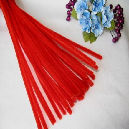 Фото Проволока синельная ,бижутерная, флористическая Синельная проволока 30 см красная