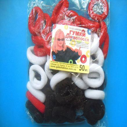 Фото Основы ,фурнитура для канзаши, Резинки Резинка  калуш , белая, чёрная ,красная   упаковка  50 штук.