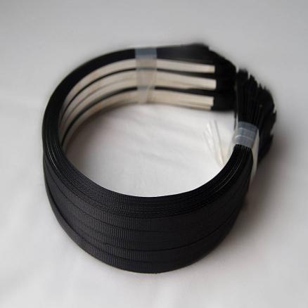 Заготовки- обручи металл черный обклеен репсовой лентой, 0,6 см