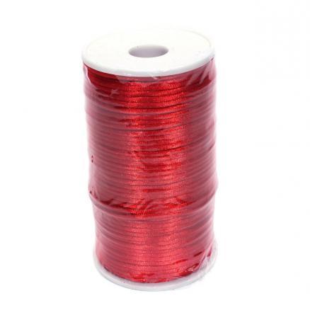 Шнур корсетный круглый ,атласный ,цвет красный