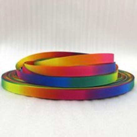 Репсовая двухсторонняя лента 0.9 мм.  радужная
