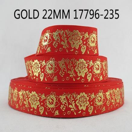 Фото Ленты, Лента репсовая VIP Лента красная репсовая с глитерным золотым рисунком ,2.5см