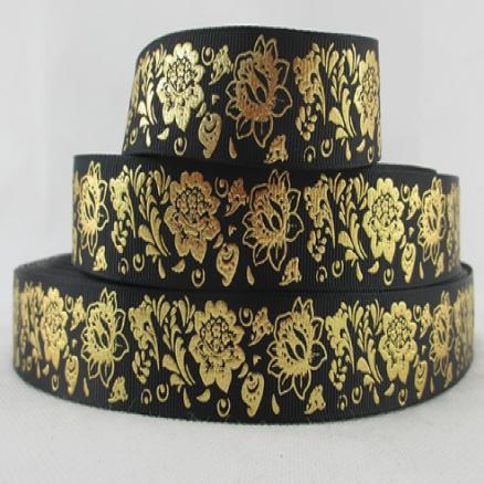 Фото Ленты, Репсовая  и  тканевая  лента  VIP класса. Лента репсовая, цвет черный с рисунком  глитерным золотые цветы  2.5 см. VIP ( Упаковка  остаток  98 см )