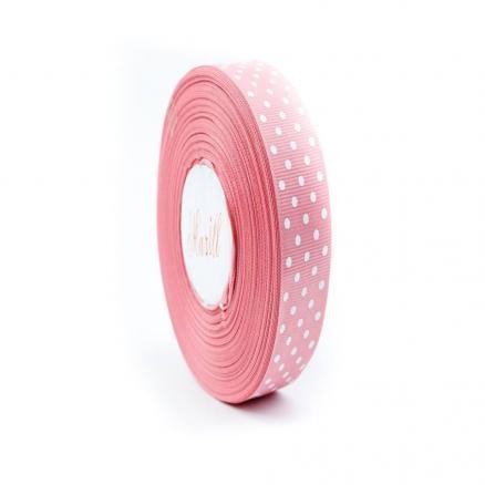 Лента репсовая в горох 2 5 мм.  пепельный розовый  цвет.