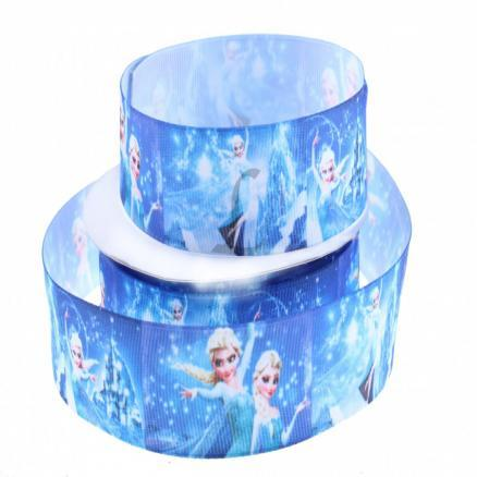 Лента  репсовая  2,5 см. цвет голубой с принцессой Эльзой