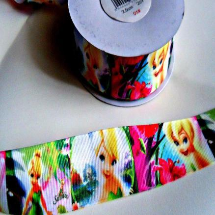 Фото Ленты, Лента репсовая с рисунком Репсовая лента  2,5 см. Фея Динь-динь