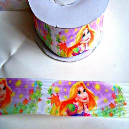 Фото Ленты, Лента репсовая с рисунком Репсовая лента 2.5 см, яркая цветная с принцессой Рапунцель