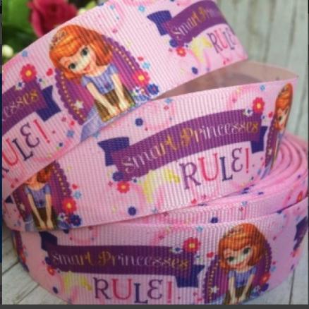 Фото Ленты, Лента репсовая с рисунком Лента  Репсовая  2,5 см.  Розового  цвета   Принцесса  София