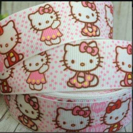 Фото Ленты, Лента репсовая с рисунком Репсовая  лента  2,5 см.  Белого  цвета  в  розовый  горошек  с  Китти.