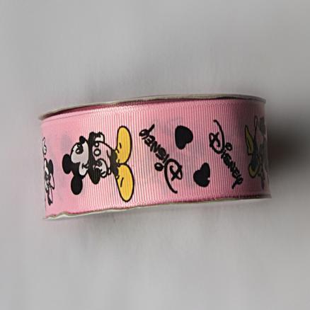 Фото Ленты, Лента репсовая с рисунком Лента  репсовая  Розовая  Дисней   с  МиккиМаусами   2,5 см.  Остаток   96 см.