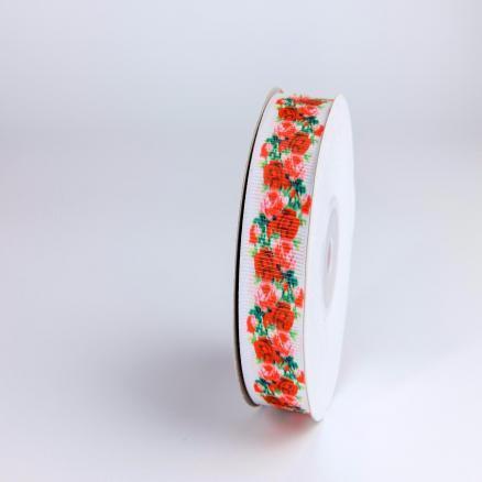Репсовая  лента  2,5 см.   Белого  цвета  в  красных  розочках