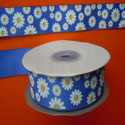 Фото Ленты, Лента репсовая с рисунком Лента  репсовая  2,5 см.   Синего  цвета  в  ромашках.