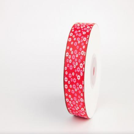 Фото Ленты, Лента репсовая с рисунком Репсовая лента 2.5 см в цветной мелкий цветочек ,красная