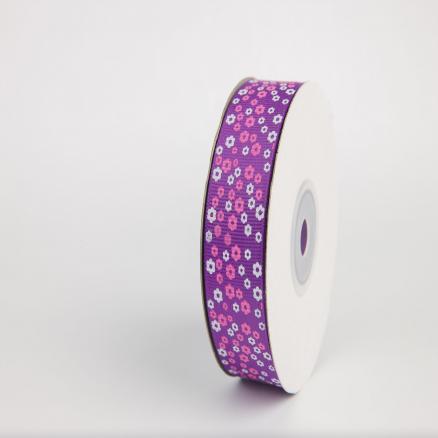 Репсовая лента 2.5 см в цветной мелкий цветочек ,фиолетовая