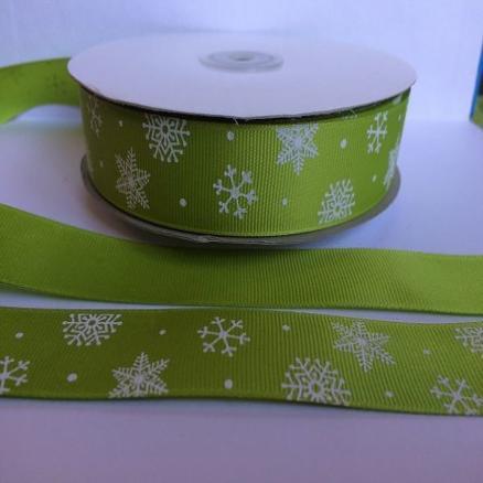 Фото Ленты, Лента репсовая с рисунком Лента  Репсовая  25 мм.   Салатово - травяного   цвета  в  снежинках