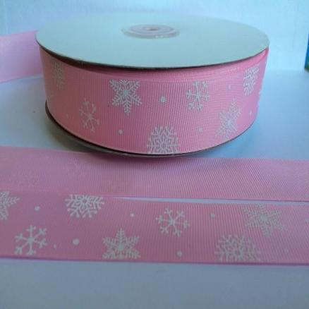 Лента   Репсовая   25 мм.  Розового  цвета  в  снежинках .