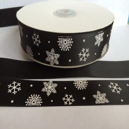 Фото Ленты, Лента репсовая с рисунком Лента   Репсовая   25 мм.  Черного  цвета  в  снежинках .