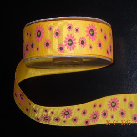 Фото Ленты, Лента репсовая с рисунком Лента  репсовая  2,5 см. Желтая с розовыми ромашками