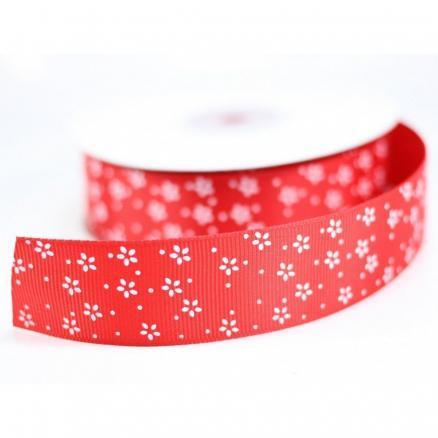 Фото Ленты, Лента репсовая с рисунком Лента репсовая  2,5 см. цвет красный с мелкими белыми цветочками