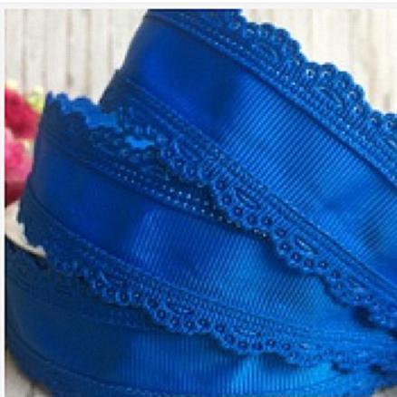 Лента  репсовая  синяя  35 мм  с  ажурным  кантом  по  краям