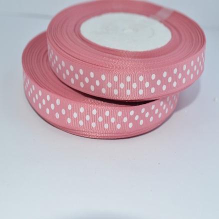 Фото Ленты, Лента репсовая 0.6мм-12мм Репсовая  лента  .  Ширина  -  0,9 см.  Цвет пудрово - розовый. в белый горох .