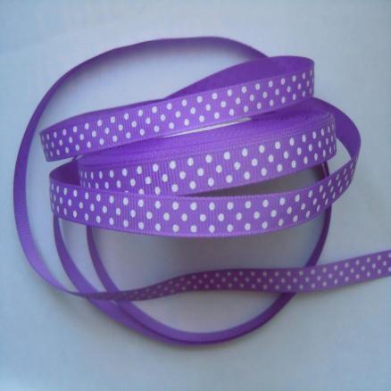 Фото Ленты, Лента репсовая 0.6мм-12мм Репсовая  лента  .  Ширина  -  0,9 см.  цвет тёмный фиолетовый в белый горох