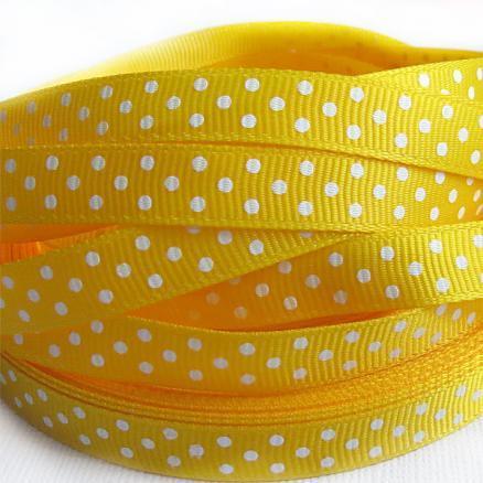 Фото Ленты, Лента репсовая 0.6мм-12мм Репсовая  лента  .  Ширина  -  0,9 см.  Цвет желтый в белый горох .