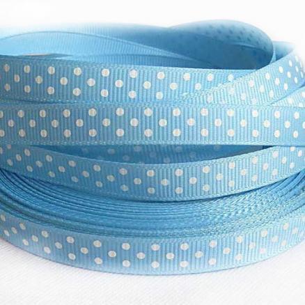 Репсовая  лента  .  Ширина  -  0,9 см. Цвет голубой в белый горох
