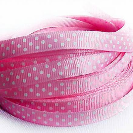Фото Ленты, Лента репсовая 0.6мм-12мм Репсовая  лента  .  Ширина  -  0,9 см.  Цвет розовый в белый горох .
