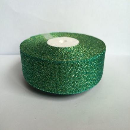 Фото Ленты, Лента парча 0.6мм-5см Лента парча  2,5 см.   зеленая.