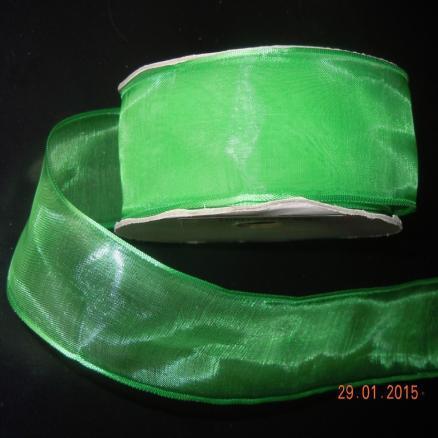 Фото Ленты, Лента органза однотонная Органзовая  лента  36 мм.  с  проволочными  краями. Цвет зеленый