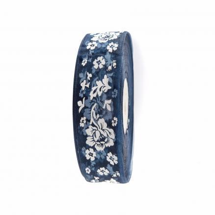 Лента  Органзовая  2,5 см.   Тёмно - синяя  в  цветочках  .