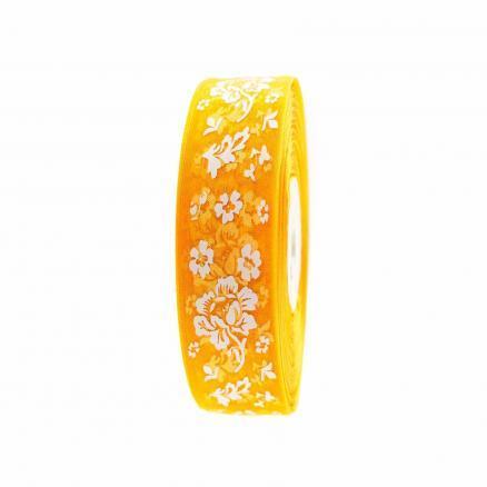 Фото Ленты, Лента  органза  в  цветочек , и  с  узорами. Лента  Органзовая  2,5 см.   Ярко - Жёлтая  в  цветочках  .