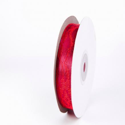 Лента атласная 2,5 см, цвет красный с кружевом