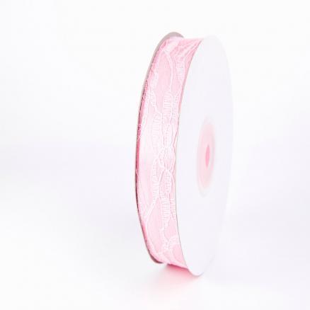 Лента атласная 2,5 см, цвет светло-розовый с кружевом