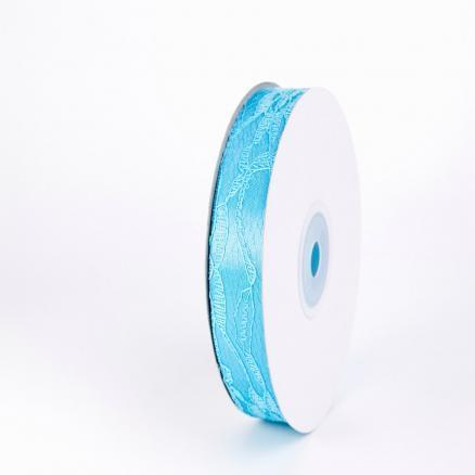 Фото Ленты, Лента атласная с узорами  и  надписями. Лента атласная 2,5 см, цвет голубой с кружевом