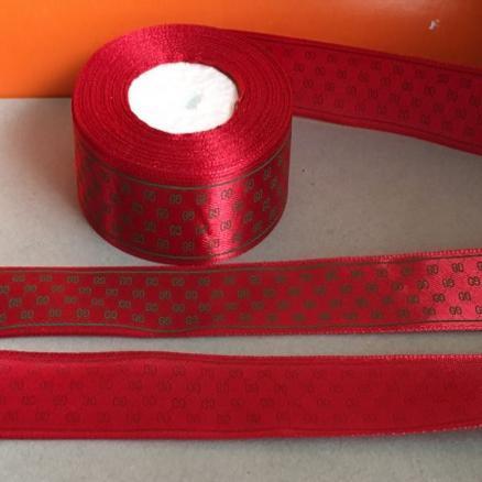 Лента атласная 2,5 см, цвет красный с арнаментом