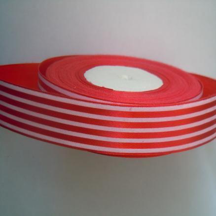 Лента атласная 2,5 см, цвет красная с белыми полосками