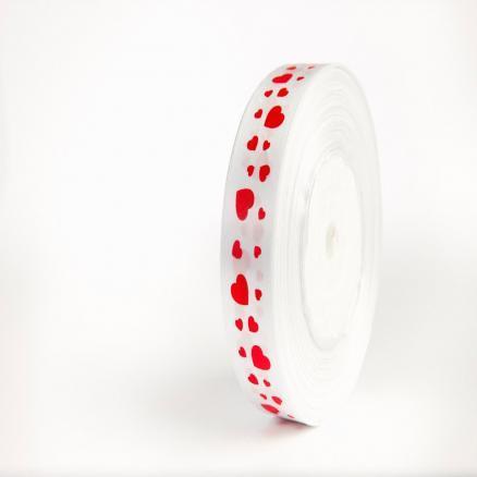 Фото Ленты, Лента атласная с узорами Лента атласная 2,5 см, цвет белый с красными сердечками