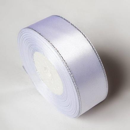 Фото Ленты, Лента атласная однотонная 2,5 см и с люрексом Атласная лента 2.5 см,  Белого  цвета  с  Серебряным люрексом .