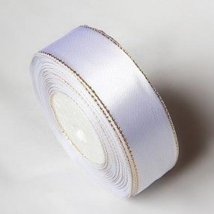Атласная лента 2,5 см , цвет белая с золотым люрексом