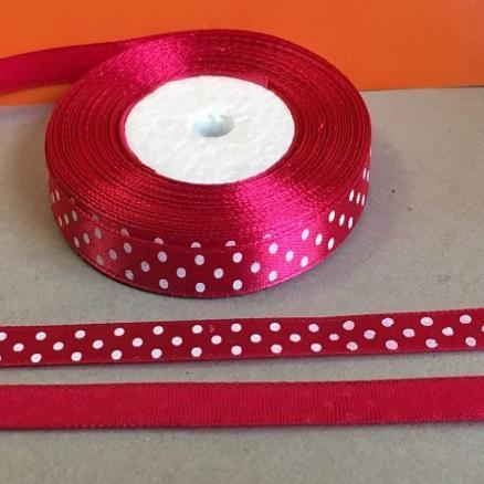 Атласная лента 0,9 см. красно- бордовая  в белый горошек