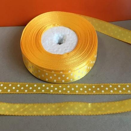 Атласная лента 0,9 см. жёлтая в белый горошек