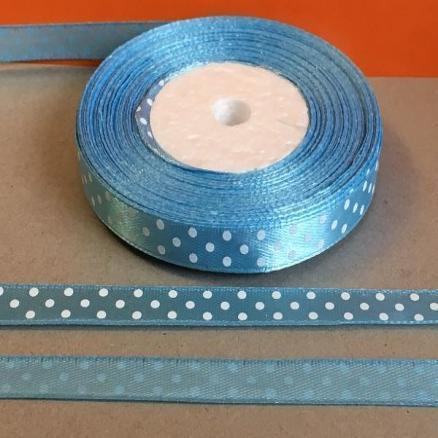 Атласная лента 0,9 см. голубая в белый горошек